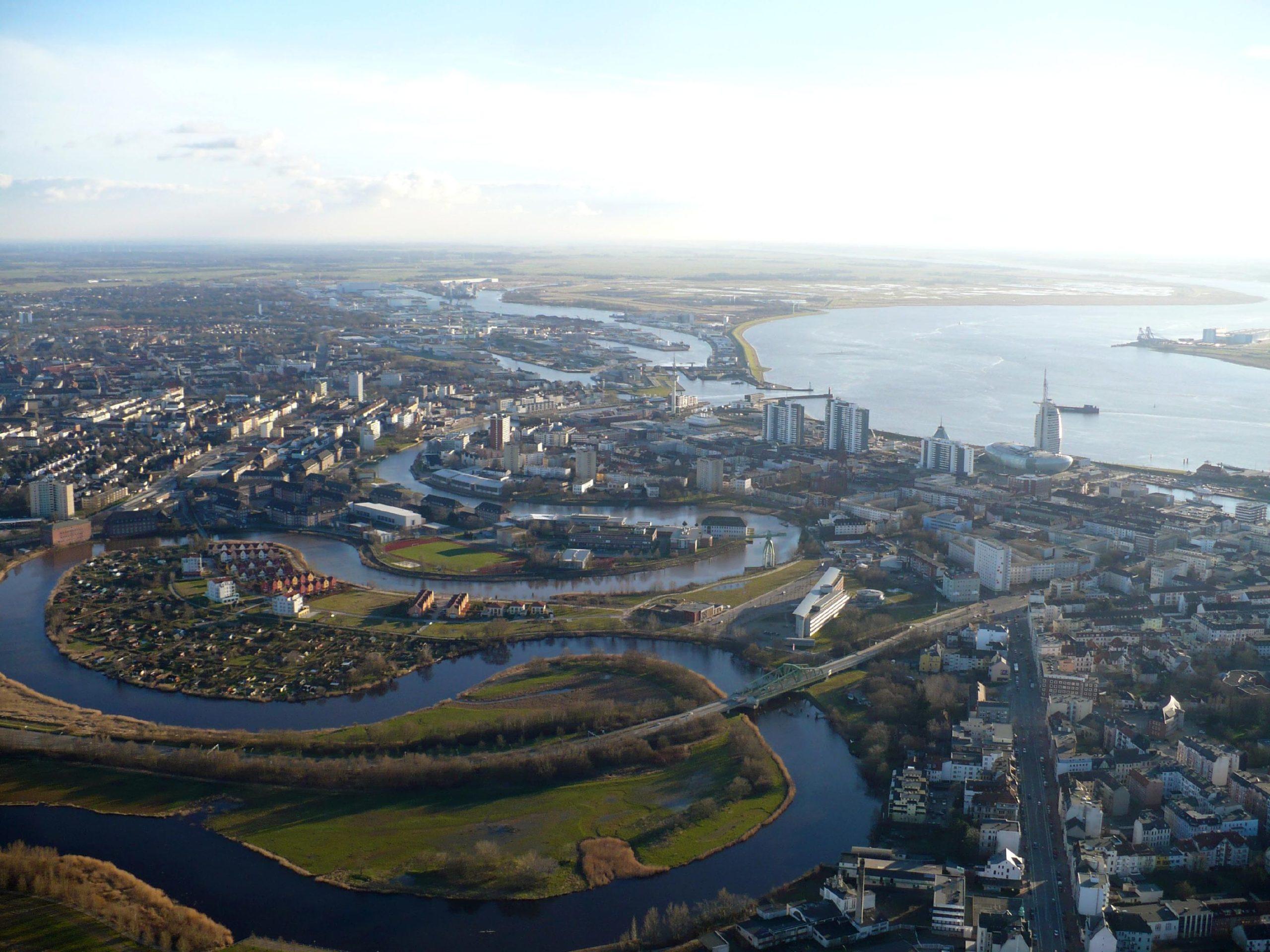 Luftaufnahme der Ortsmitte Bremerhavens